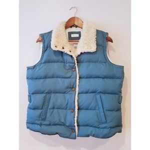 Maurices Teal Faux Fur Collar Puff Vest size XL